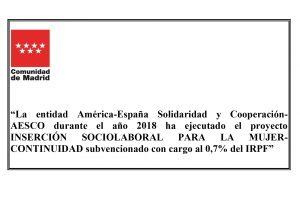 «Inserción sociolaboral para la mujer-Continuidad»