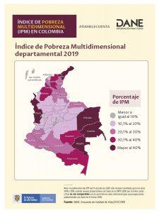 Mapa de impacto del IPM por departamentos en 2019